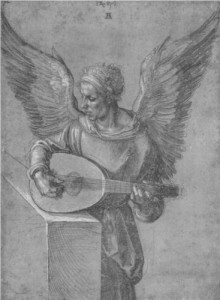 Winged man playing the lute Durer