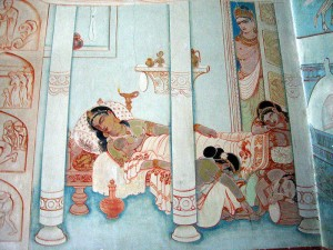 Buddha_leaving_his_family,_a_mural_at_Mulagandhakuty_Vihara,_Sarnath - Ajay Tallam